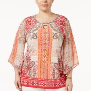 JM Collection Women' Top Butterfly Sleeve Printed